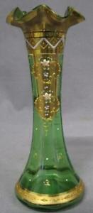 Beautiful MOSER Bohemian Vase with Enameled Flowers and Gold Gilting Decoration