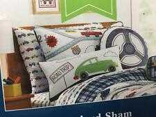 Charles Street Boys Road Trip Cars Route Map Wheels Standard Quilted Pillow Sham