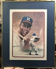 """Autographed Signed Hank Aaron Litho By Rudy Garcia  14""""x19"""" And 20""""x25"""" Framed"""