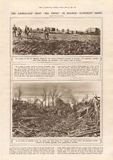 """1918  ANTIQUE PRINT WW1 - AMERICANS FIRST """"BIG THING"""", CANTIGNY FIGHT"""