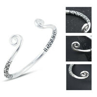 Retro Women 925 Silver Plated Hoop Sculpture Cuff Bangle Bracelet Jewelry Gift