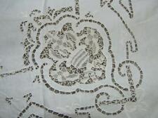 "Stunning! Antique Heirloom Belgium Lace Cut Banquet Tablecloth 70"" x 105"""