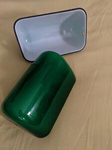 1 un Abat jour baignoire en opaline verte et blanche pour lampe de bureau ou aut