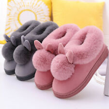 Women Winter Bunny Rabbit Plush Warm Slip On Slippers Comfy Home Indoor Shoes