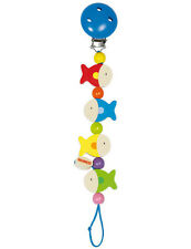 Heimess Fish Clip On Dummy Soother Pacifier Chain Wooden Baby Child Toy BNIP