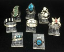 Lot of 8 Small Sterling Silver Southwestern and Native American Rings