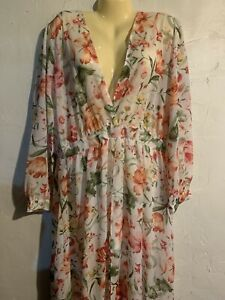 Sheer Romper Dress Long Sleeve Floral White Size 1x
