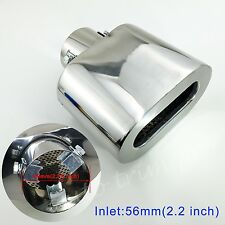 "Chrome Universal 55mm 2.2"" Inlet Tail Pipe Exhaust Muffler Rear Silencer Trim"
