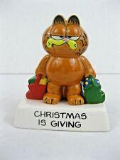"New ListingVtg Enesco Garfield Cat ""Christmas is Giving"" Ceramic Figurine"