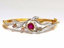 GIA Certified No Heat Natural Ruby Fancy color diamonds bangle bracelet