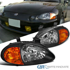 For 93-97 Honda del Sol JDM Black Clear Headlights Head Lamps w/ Amber Reflector