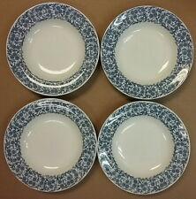 "Four Royal Worcester 1870's Blue Corn Flower on White Florals 9"" Soup Bowls"