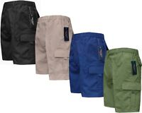 New Mens Elasticated Waist Cargo Combat Plain Shorts Zip Fly M-5XL By Tom Hagan