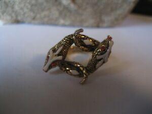 Vintage Rare  signed Art Double Snake Ring-size 6-Red stoned eyes-enamel tongues