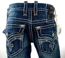"$220 Mens Rock Revival Jeans ""Rogan"" Leather Inserts Straight Leg 32 X 33"