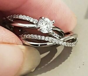BRAND NEW S925 CUBIC ZIRCONIA  ENGAGMENT & WEDDING BAND DUO SET  RING SIZE N