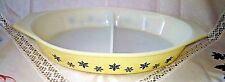 Vintage Pyrex Lemon Yellow Snowflake Gaiety Divided Oval Gratin Serving Dish