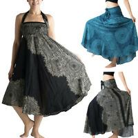 Women Long Hippie Bohemian Gypsy Elastic Waist Floral Halter Ankle-Length Skirt