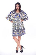 Indian 100% Cotton Women Cocktail Dress  Kaftan Hippie Boho Kimono Sleeve Blue
