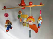 Sevi 1831 Vintage Style Decor Baby Crib Clown Mobile Wooden Hand Painted