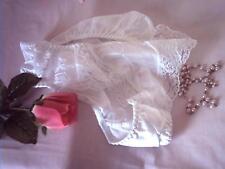 Cute Silky White Vintage Schoolgirl Nylon Panties Pretty Lace Knickers  UK S 10