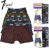 3 6 Mens Boxer Briefs Underwear Stretch Stripe Cotton Trunk Short Bulge M L XL 2