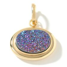 Technibond Oval Rainbow Drusy Enhancer Pendant 14K Yellow Gold Clad Silver HSN