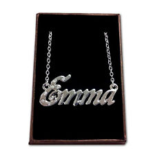 White Gold Plated Name Necklace - EMMA - Gift Idea For Her - Anniversary Crystal