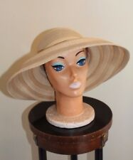 Fine Gold Collection Frank Olive Natural Braid Straw Peek-a-Boo Brim Hat Sz L
