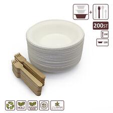 BIO Zuckerrohr Schalen Set   Einwegschalen rund weiß & Holzgabeln & Holzlöffel