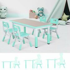 Kids Table and 4 Chairs Set Hight Adjustable Study Play Painting Desk Best Gift