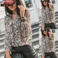 Women Print Long Sleeve Shirt Blouse OL Ladies Casual Buttons Ruffle Top T Shirt