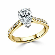 2.40 Ct Pear Cut Diamond Solitaire Engagement Ring 14K Solid Yellow Gold Size N