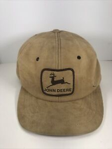 Vintage JOHN DEERE Snapback Hat Trucker Patch SWINGSTER Tan Suede Rare