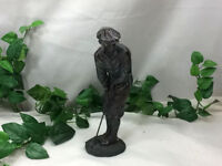 Vintage Bronze Golfer Golfing Statue Putting Figure Trophy Man Cave Club Putting