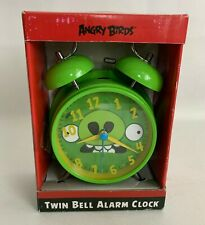 Angry Birds Metal Twin Bell Alarm Clock Green Pig Battery Operated NEW