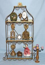 Vintage Metal & Glass Wall Mount or Table Top Glass Display Shelves