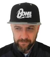Cappello Bowie, SnapBack Cap nero con visiera grigia, Logo Musica Pop Rock