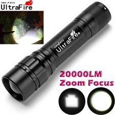 Tactical 20000LM XM-L T6 LED 18650 Police Flashlight Torch Zoomable Flashlamp