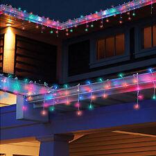 3M 96 LED RGB String Fairy Light Xmas Party Wedding Icicle Curtain Lamps US Plug