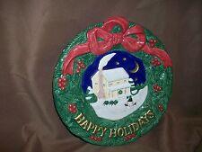 Fitz & Floyd Omnibus Christmas Canape Tidbit Plate Happy Holidays Wreath Snowman