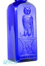 GREAT old OWL DRUG Co Cobalt BLUE salts bottle RARE SQUARE w/ unique BIRD