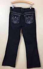 Torrid Women's Black Heavy Stitch Embellished Flap Pocket Boot Cut Jeans. Sz 12