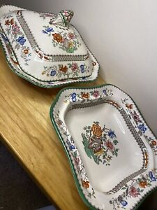 Copeland Spode Chinese Rose Pair Of Serving Dishes With One Lid