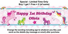 1st Birthday Baby or any Child Girl Party Banner Sign Poster, Rainbow, UNICORN.