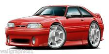 1993 Ford Mustang Cobra Fox Body Cartoon Cars Wall Graphic Decal Vinyl Cling NEW