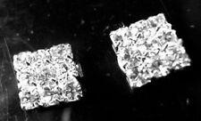 Cristal Estrás Pendientes De Clip Magnético Cuadrado Diamante Stud Para Hombre Mujer