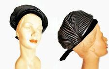New listing 1960s Vintage Christian Dior Large Black Satin Turban Hat Pleated Designer