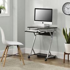 [en.casa] Schreibtisch 60x40x75cm Schwarz Rollbar Computertisch Bürotisch Tisch