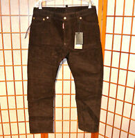 DSQUARED2 KENNY TWIST LEATHER LACE LASER CORDUROY CORDS JEANS PANTS 32 33 34 48